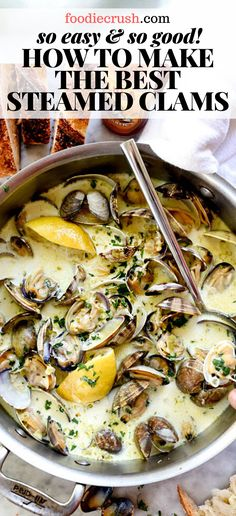 Small, sweet clams are cooked in a butter, garlic, white wine and cream to create the best sauce for sourdough bread dipping. Sauce Recipes, Wine Recipes, Cooking Recipes, Asian Recipes, Steam Recipes, Shellfish Recipes, Seafood Recipes, Seafood Appetizers, How To Cook Clams