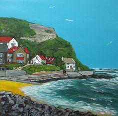"Runswick Bay N Yorks Acrylic on 12"" x 12"" canvas panel"