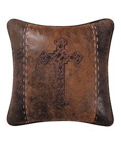 Brown Cross Throw Pillow, Cowboy, Western. Lots on zulily today!