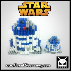 3D R2D2 Star Wars perler beads by Voxel