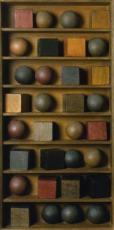 "Pol Bury (26 April 1922 - 28 September 2005)  -  ""16 Balls, 16 Cubes, In 8 Rows"", 1966"