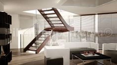 modern stairs, design stairs, stairs with wood and glass http://www.sillertreppen.com/en/stairs-modern/
