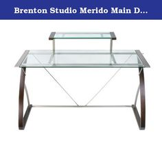 """Brenton Studio Merido Main Desk, 55-in W x 28.35-in D x 36-in H. Main Desk for the Merido Collection features a clear glass top and dark espresso wood legs finished with satin silver metal trim for an extraordinary modern look for your home or small office. Product Type: Straight Desk. Collection: Merido. Color / Finish: Clear Glass. Overall Dimensions: 55""""(W)x28.35""""(D)x36""""(H). Clear, tempered glass top. Espresso wood legs and frame. Satin Silver metallic trim. Monitor / Accessory shelf…"""