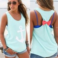 I think you'll like Women Sleeveless Anchor Back Bow T-Shirt Backless Vest Tank Tops Blouse. Add it to your wishlist!  http://www.wish.com/c/554db72ccf7d320bf3315f69