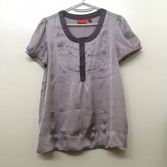 Elle business casual pleated top Nice gray business casual top from Elle. Size XS. Pretty pleated detailing under the neckline. Barely worn, in like new condition. Elle Tops Blouses