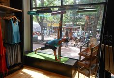 Did you know that Gaiam has a retail store in Boulder, Colorado? Our first! http://on.fb.me/NFjg1n    We love this shot of our editorial assistant and yogi extraordinaire, Nichole, doing some yoga/modeling in the window.