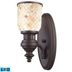 66430-1-LED | Chadwick 1 Light LED Wall Sconce In Oiled Bronze And Cappa Shells - 66430-1-LED