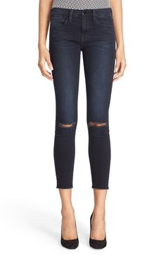 Free shipping and returns on FRAME 'Le High Skinny' High Rise Crop Jeans (Sterling) at Nordstrom.com. Made from premium denim in LA, the heart of the denim industry, these slim, straight-leg jeans offer a modern take on this season's '70s trend with a high rise and an ankle-grazing silhouette. Raw-cut hems and ripped knees detail the dark blue wash for cool, lived-in definition.
