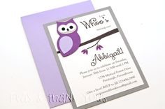 Purple Owl Invitation for Girls Birthday Party or Baby Shower-purple owl