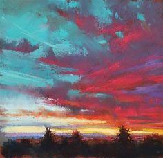 "Daily Paintworks - ""Sunrise + Sunsets"" - Original Fine Art for Sale - © Marla Baggetta Soft Pastel Art, Chalk Pastel Art, Pastel Artwork, Oil Pastel Paintings, Pastel Drawing, Chalk Pastels, Chalk Art, Dry Pastels, Pastel Landscape"