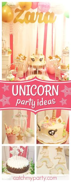 You don't want to miss this awesome Unicorn birthday party! The birthday cake is fabulous!! See more party ideas and share yours at CatchMyParty.com #partyideas #catchmyparty #unicorn #girlbirthday