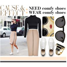 Pencil Skirt & Sneakers by fashionlingual on Polyvore featuring NLY Trend, River Island, Alice + Olivia, House of Harlow 1960, Illesteva and Envi