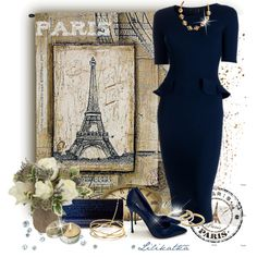 A fashion look from October 2014 featuring navy blue peplum dress, pointed pumps and ombre handbag. Browse and shop related looks.