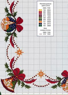 Bordure natale a punto croce Xmas Cross Stitch, Cross Stitch Borders, Cross Stitch Charts, Cross Stitch Designs, Cross Stitching, Cross Stitch Embroidery, Embroidery Patterns, Hand Embroidery, Cross Stitch Patterns