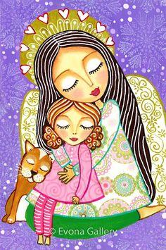 Folk Art  Painting Protector of Dreams Angel Print by Evonagallery