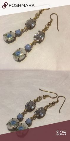 Crystal dangle earrings light blue floral beauties Pretty dainty earrings handmade with deadstock antique cabs. Very pretty on and lightweight too! fruitfulsouls designs Jewelry Earrings