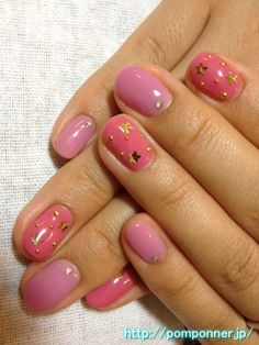 Nail paint one color like pink and purple candy    キャンディみたいなピンクとパープルの一色塗りネイル