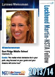 """Lynnea Weissman: """"No matter what obstacles lie in you path; stay focused on your goals your dreams will come true!"""" Learn more about the New Science Teacher Academy: http://www.nsta.org/academy/ which provides accommodations, airfare, food, and registration fees to attend the National Science Teachers Association national conference; NSTA membership; e-mentoring; web-based PD; and more!"""