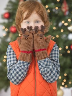 These Reindeer Mittens are too cute! Crochet them in our Vanna's Choice yarn. Instead of brown noses make 'em Red like Rudolph!