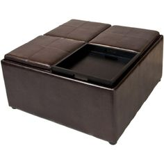 Simpli Home Avalon Square Faux Leather Coffee Table Storage Ottoman in Dark Brown-F-07 at The Home Depot