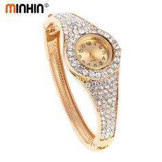 MINHIN Fashion Gold Plated Watches Luxury Rhinestone Wrist Bangle Stainless Steel Bracelet Watches Female Quartz Wristwat