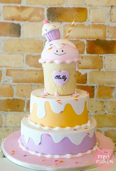Amazing cake at an Ice Cream Shoppe Party with So Many Really Cute Ideas via Kara's Party Ideas | KarasPartyIdeas.com #IceCreamParty #PartyIdeas #PartySupplies #cake