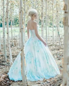 Floral Wedding Dress Aquarell romantisch, BONAPARTE, Seide Baumwolle blau rosa Blush