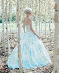 Floral Wedding Dress Watercolor Romantic, BONAPARTE, Silk Cotton Blue Pink Blush