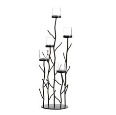 Candle Holders Metal, Flowers Candle Holders Floor Stand Iron Sprig Candleholder
