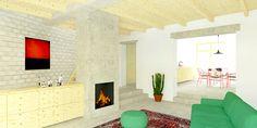 Uitbreiding tussenwoning, Hulsberg 2016, zitkamer met aangrenzend de keuken en hal #renovatie #glas #hout #plywood #modern #limburg #hulsberg #interieur #raam #terras #gevel #gevelbekleding #eternit #beton #vloer #wand #keuken #zitkamer #slaapkamer #loft #zolder #trap #studie #meubel #maatmeubel #denieuwecontext #maastricht #aanbouw #groen #wit #clean #gezellig #voordeur #tegels #natuur #hobbyzolder #design #bank #vloerkleed #vensterbank #venster