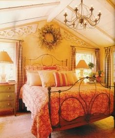 Country Chic Bedroom from California Home & Design January 2003 Linda Applewhite Designs Dream Bedroom, Home Decor Bedroom, Bedroom Furniture, Master Bedroom, Bedroom Ceiling, Furniture Sets, Bedroom Ideas, French Country Bedrooms, Farmhouse Bedrooms