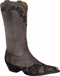 """Star Boots Grey Mad Cat Embroidered Flowers 12"""" W7035"""