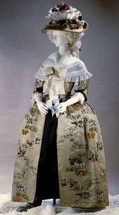 Gown, Spitalfields, England, 1740s (made) 1780s (altered). Brocaded silk satin. Victoria & Albert Museum. More info: http://twonerdyhistorygirls.blogspot.com/2012/09/fashionably-aping-ones-betters-c-1780.html#