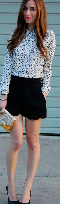 bird print blouse and scalloped shorts