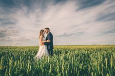 Kingscote Barn Wedding Photography - Summer Wedding in the Cotswolds - Sunset Corn Field