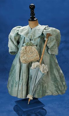 Beautiful blue costume with handbag and parasol By Theriaults Antique Doll Auctions. http://Theriaults.com
