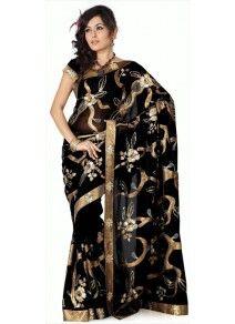 Superbe Sari Noir aux motifs dorés