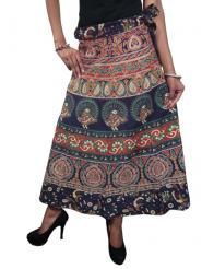 Blue Wrap Skirt Colorful Printed Cotton Skirt