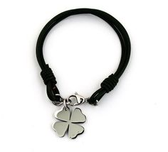 Clover Charm Luck Stainless Steel Bracelet, Multi Strand Leather Bracelet