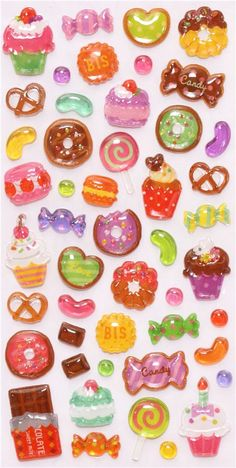 hard 3D stickers with sweets from Japan 2