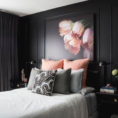 "3,066 Likes, 49 Comments - Rue (@ruemagazine) on Instagram: ""Bold and cozy - this black bedroom by @michelleatcrushinteriors and @carolatcrushinteriors is…"""