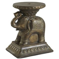 This petite pachyderm is the perfect umbrella table for those smaller alcoves and outdoor hideaways where you might want to slip away for a drink or keep your sunscreen handy. With a hand-painted, antiqued golden finish, this exotic elephant will never forget to keep you comfy in the shade.