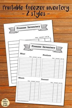 Free printable freezer inventory pages - 2 different styles for a simple list or to organize by category // Keep track of what you have to make meal planning simple!  #planner #printables