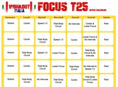 Shaun T's FOCUS T25 - Workout-Italia T25 Alpha Schedule, T25 Workout, Forma Fitness, Interval Cardio, Workout Calendar, Print Calendar, Total Body, Personal Trainer