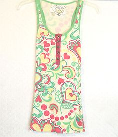 Womens Juniors sz M CRAFTY COUTURE Red & Green Heart Swirl Mod Tank Top