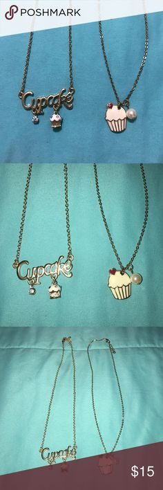 Gold Cupcakes Necklace Set 💛💗 Gold cupcake necklace set. Sold together. Like new! 💛💗 Forever 21 Jewelry Necklaces