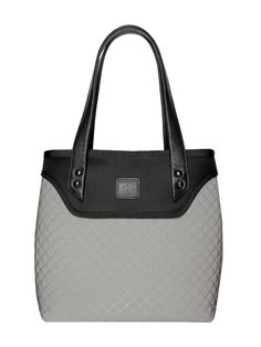 GOSHICO, ss2015, Flowerbag (shoulder bag), grey + black. To download high or low resolution photos view Mondrianista.com (editorial use only).