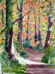 Road Between Beech, by Usúa Gabarain. Born in San Sebastian, Spain in 1947, by age 11 he was spending his summers studying painting with Don Ascensio Martiarena, and later painted mountain scenery with Marta Cardenas. In the 1980s he joined the Basque Watercolor Association, participating in several group exhibitions.