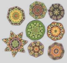 Kaleidoscope designs by Pat Bopray, Simmons Master Cane Workshop, Oct, 2014 CarolSimmonsDesigns.com
