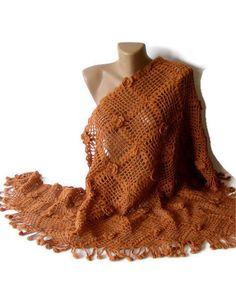 hand crocheted shawl ,terra cotta, women fashion, geometry shawl, crochet trends, floral | shawl | Scoop.it